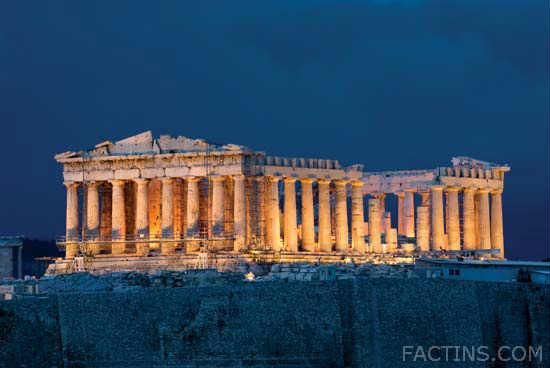 Night view of the Parthenon Athens_c