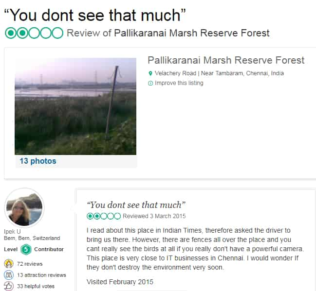 Foreign Tourist Speak - Importance of pallikaranai marshland ecosystem - Factins