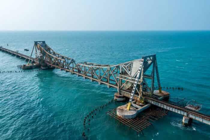 Pamban Rail Bridge at Center point