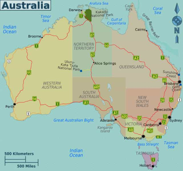 Australia Map - Facts about Australia - Factins