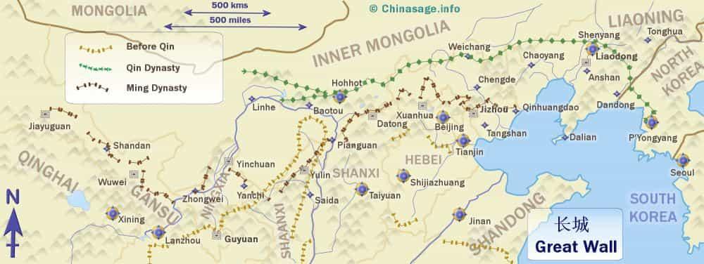 Map - great wall of china - Factins