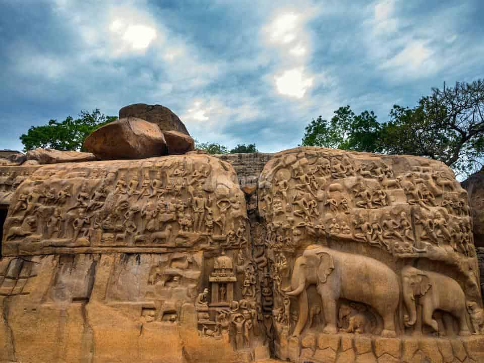 arjuna penance mamallapuram - group of monuments at mahabalipuram - factins